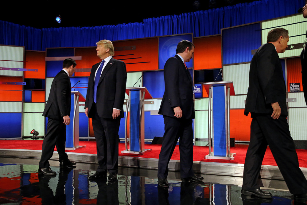 "12 Март. From left: Senator Marco Rubio, Donald J. Trump, Senator Ted Cruz and Gov. John Kasich at a Republican presidential debate. During the debate, Mr. Trump addressed innuendo about his ""small hands."" Richard Perry"