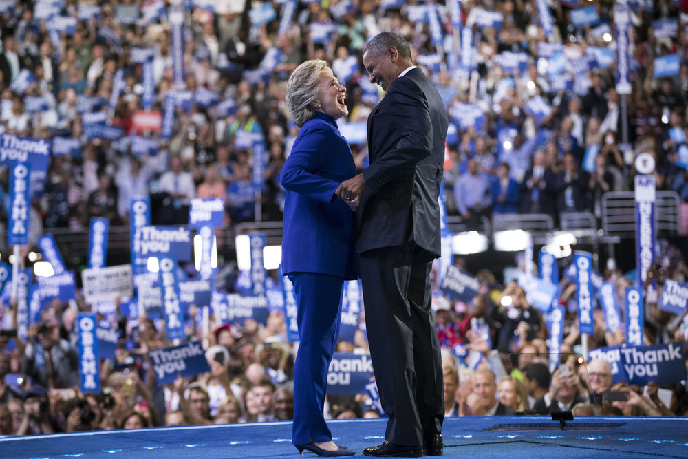 28 Июль. Hillary Clinton and President Obama at the Democratic National Convention.Doug Mills