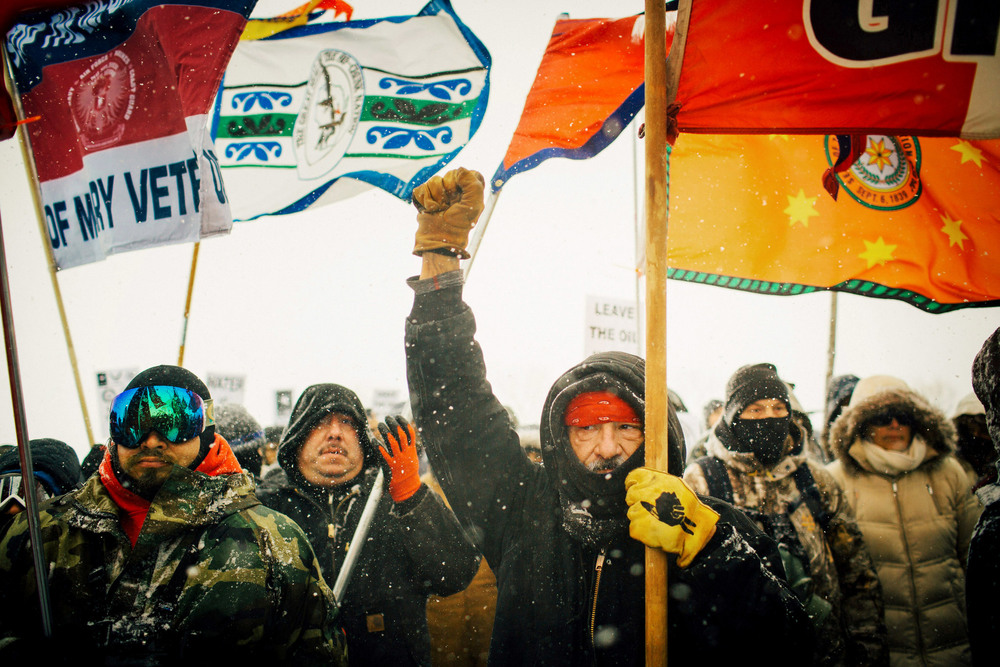 47 Декабрь. Veterans and tribal leaders marched in snow and wind to protest the construction of an oil pipeline near the Standing Rock Sioux Reservation.Alyssa Schukar