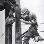 12 Рабочий делает искусственное дыхание своему коллеге по методу «рот в рот» после того, как тот пострадал от контакта с высоковольтным проводом, 1967.