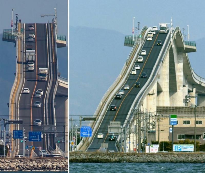 15 Эшима Охаси, Япония. Это дорога, проходящая по мосту, соединяющему города Сакаиминато и Мацуэ. Протяженность - 1,7 км., а ширина — 11,3 метра. Такая высота необходима для прохода под мостом кораблей.