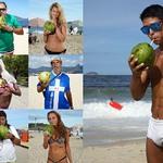 11 Употребление свежего кокосового сока на пляже.
