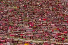 1 Дома на холме. Эти красочные дома в провинции Сычуань Китая являются частью буддийской академии Ларунг Гар, которая учит принципам тибетского буддизма. Автор - ANTON GAUTAMA.
