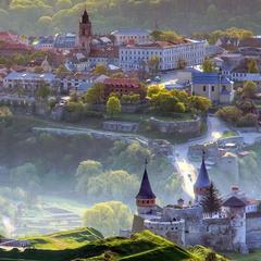 Каменец-Подольский, Старый город, вид с воздушного шара