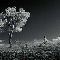 Стояла она одиноко на краешке ветреном самом...