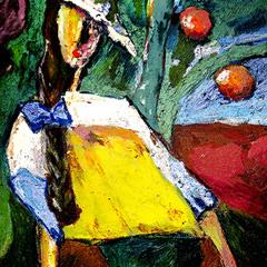 Портрет девушки под яблоней