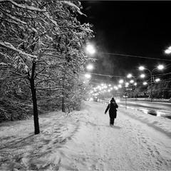 Ночь.Зима...ветрА...снегА ...пустынные дороги...