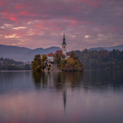 Sunset in Bled.