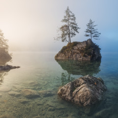 Германия. Ramsau. Озеро Hintersee. Туманное утро.