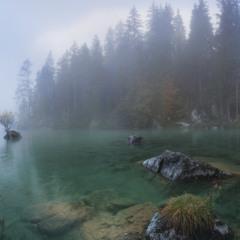 Германия. Ramsau. Туман над озером Hintersee