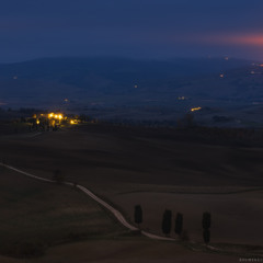 Италия. Тоскана. Долина Val d'Orcia рано утром.