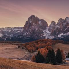 Италия. Доломиты. Осеннее утро на плато Alpe Di Siusi