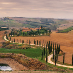 Италия. Тоскана. Панорама ландшафта у виллы Agriturismo Baccoleno