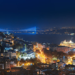 Турция. Стамбул. Панорама на Босфорский мост, вечерний