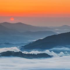 Карпаты. Утренний туман в долине села Дземброня