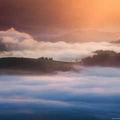 Карпаты. Утренний свет в долине села Дземброня