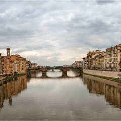 View from Poynt Vecchio to the West. Florence, Italy. River Arno.