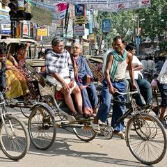 Велорікші Індії за роботою...