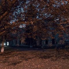 В октябрьской листве и фонарях вечерних.