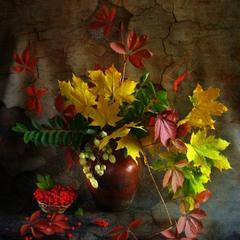 Кольорова осінь ІІ (з горобиною)