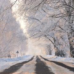 Зимняя дорога в утро