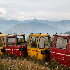 Old rope way wagons. Darjeeling. W. Bengal. India