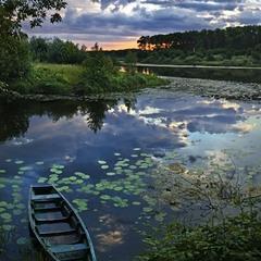 Закат на  озере  Магистрацком