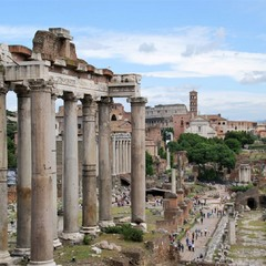 Rome, Italy. The Temple of Saturn.