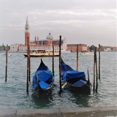 Venice, Italy. Resting gondolas.