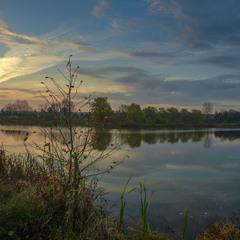 Утром,у озера...