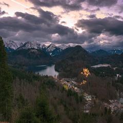 Зимний вечер в Альпах