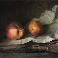 Натюрморт с двумя персиками..