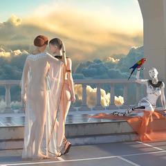 Вид заката Сатурна на веранде с двумя рабынями