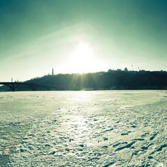 на льду...