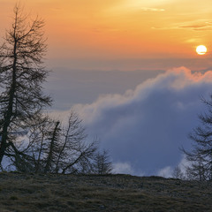 Альпийский пейзаж, раннее утро