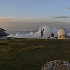 Рассвет в Альпах: наваливается туман...