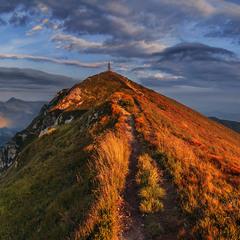 Цей сяючий шлях через гору біжить проти ночі.