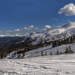 В снігах Свидівецьких. Сонце низенько, до Чорногори близенько.