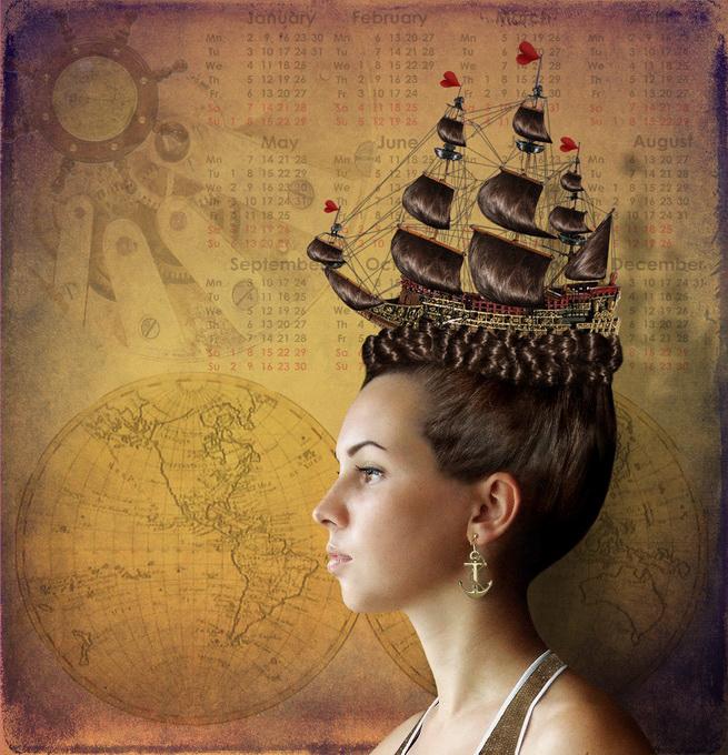 Прически с кораблями в волосах