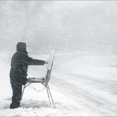 художник,что рисует снег