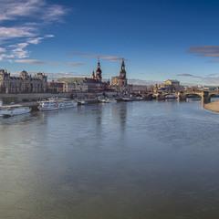 вид на терасу Брюля, мост Аугуста и Королевскую набережную...