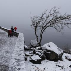 Набережна Дніпра в тумані