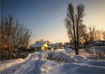 Снежная зима у деревни. Морозец.