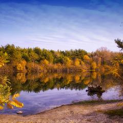 Осенний пейзаж.  Труханов остров в Киеве