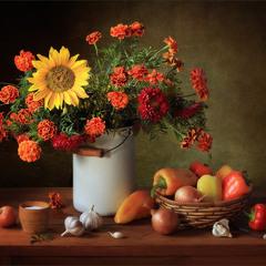 Натюрморт с букетом и овощами