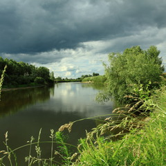 туча, река, трава