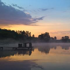Встречая рассвет на пруду