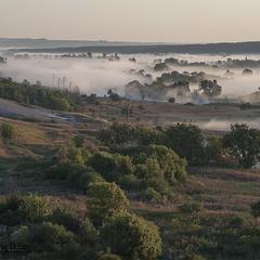 Туман над рекой Оскол.