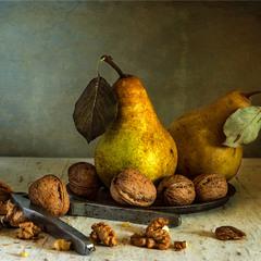 натюрморт з грушами і горіхами