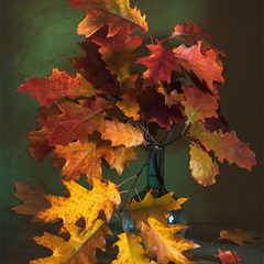 натюрморт з осіннім листям